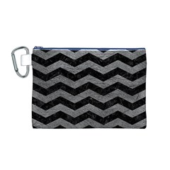 Chevron3 Black Marble & Gray Leather Canvas Cosmetic Bag (m)