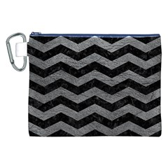 Chevron3 Black Marble & Gray Leather Canvas Cosmetic Bag (xxl)