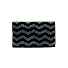 Chevron3 Black Marble & Gray Leather Cosmetic Bag (xs)