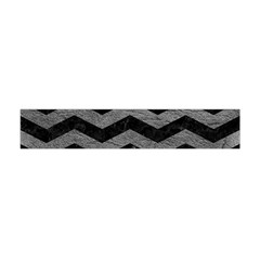 Chevron3 Black Marble & Gray Leather Flano Scarf (mini)