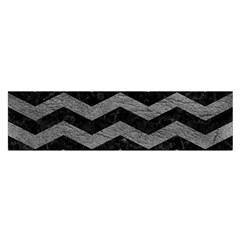 Chevron3 Black Marble & Gray Leather Satin Scarf (oblong)