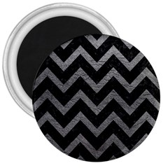 Chevron9 Black Marble & Gray Leather 3  Magnets