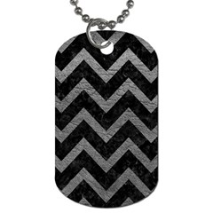 Chevron9 Black Marble & Gray Leather Dog Tag (two Sides)