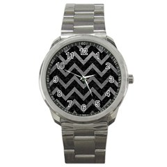 Chevron9 Black Marble & Gray Leather Sport Metal Watch