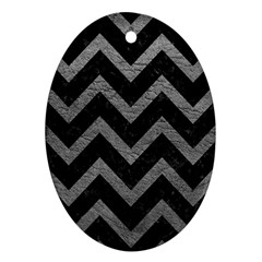 Chevron9 Black Marble & Gray Leather Oval Ornament (two Sides)