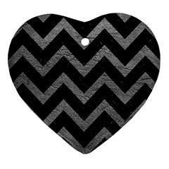 Chevron9 Black Marble & Gray Leather Heart Ornament (two Sides)