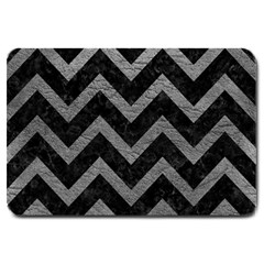 Chevron9 Black Marble & Gray Leather Large Doormat