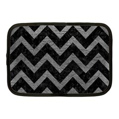 Chevron9 Black Marble & Gray Leather Netbook Case (medium)