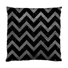 Chevron9 Black Marble & Gray Leather Standard Cushion Case (two Sides)
