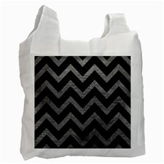 Chevron9 Black Marble & Gray Leather Recycle Bag (two Side)