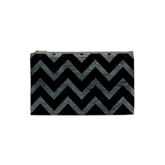 Chevron9 Black Marble & Gray Leather Cosmetic Bag (small)