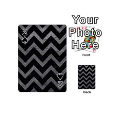 Chevron9 Black Marble & Gray Leather Playing Cards 54 (mini)