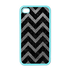 Chevron9 Black Marble & Gray Leather Apple Iphone 4 Case (color)