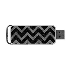 Chevron9 Black Marble & Gray Leather Portable Usb Flash (one Side)