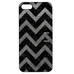 Chevron9 Black Marble & Gray Leather Apple Iphone 5 Hardshell Case With Stand