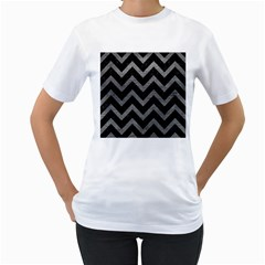 Chevron9 Black Marble & Gray Leather Women s T Shirt (white)