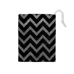 Chevron9 Black Marble & Gray Leather Drawstring Pouches (medium)