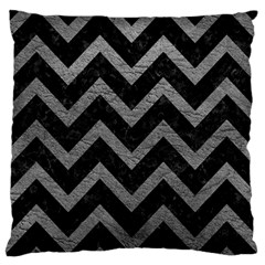 Chevron9 Black Marble & Gray Leather Large Flano Cushion Case (two Sides)