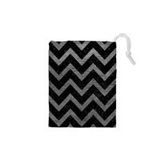 Chevron9 Black Marble & Gray Leather Drawstring Pouches (xs)