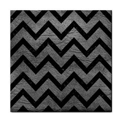 Chevron9 Black Marble & Gray Leather (r) Tile Coasters