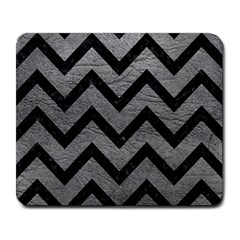 Chevron9 Black Marble & Gray Leather (r) Large Mousepads
