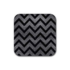 Chevron9 Black Marble & Gray Leather (r) Rubber Square Coaster (4 Pack)