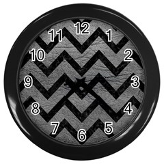 Chevron9 Black Marble & Gray Leather (r) Wall Clocks (black)