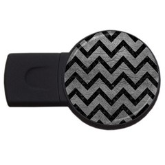Chevron9 Black Marble & Gray Leather (r) Usb Flash Drive Round (2 Gb)
