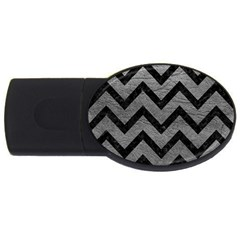 Chevron9 Black Marble & Gray Leather (r) Usb Flash Drive Oval (4 Gb)