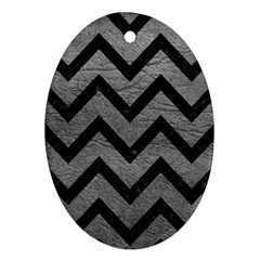 Chevron9 Black Marble & Gray Leather (r) Oval Ornament (two Sides)