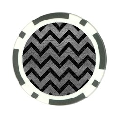 Chevron9 Black Marble & Gray Leather (r) Poker Chip Card Guard