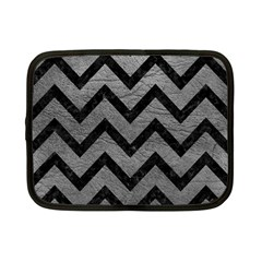 Chevron9 Black Marble & Gray Leather (r) Netbook Case (small)