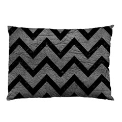 Chevron9 Black Marble & Gray Leather (r) Pillow Case