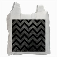 Chevron9 Black Marble & Gray Leather (r) Recycle Bag (one Side)