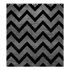 Chevron9 Black Marble & Gray Leather (r) Shower Curtain 66  X 72  (large)