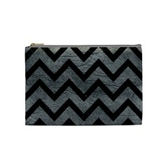 Chevron9 Black Marble & Gray Leather (r) Cosmetic Bag (medium)