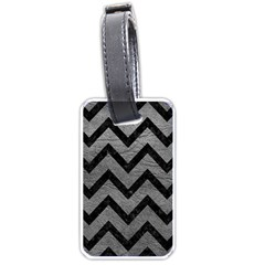 Chevron9 Black Marble & Gray Leather (r) Luggage Tags (one Side)