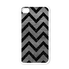 Chevron9 Black Marble & Gray Leather (r) Apple Iphone 4 Case (white)