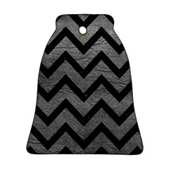 Chevron9 Black Marble & Gray Leather (r) Ornament (bell)