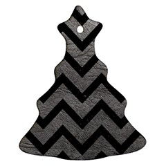 Chevron9 Black Marble & Gray Leather (r) Christmas Tree Ornament (two Sides)