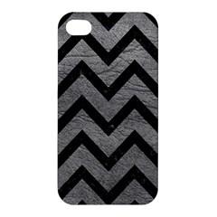 Chevron9 Black Marble & Gray Leather (r) Apple Iphone 4/4s Hardshell Case