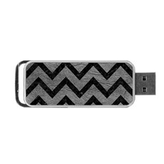 Chevron9 Black Marble & Gray Leather (r) Portable Usb Flash (one Side)