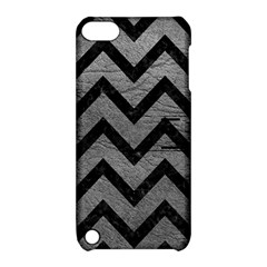 Chevron9 Black Marble & Gray Leather (r) Apple Ipod Touch 5 Hardshell Case With Stand