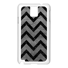 Chevron9 Black Marble & Gray Leather (r) Samsung Galaxy Note 3 N9005 Case (white)