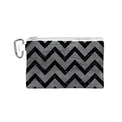 Chevron9 Black Marble & Gray Leather (r) Canvas Cosmetic Bag (s)