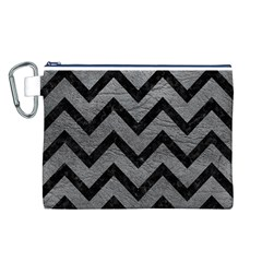 Chevron9 Black Marble & Gray Leather (r) Canvas Cosmetic Bag (l)