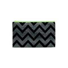 Chevron9 Black Marble & Gray Leather (r) Cosmetic Bag (xs)