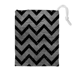 Chevron9 Black Marble & Gray Leather (r) Drawstring Pouches (extra Large)