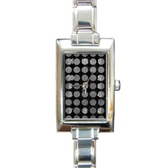 Circles1 Black Marble & Gray Leather Rectangle Italian Charm Watch