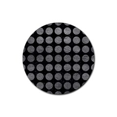 Circles1 Black Marble & Gray Leather Rubber Round Coaster (4 Pack)